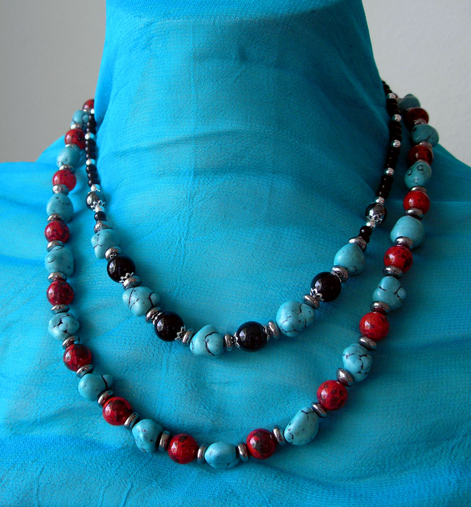 Onyx, Hematite & Turquoise and Turquoise & Red Forever necklaces