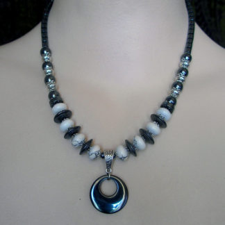 Hematite & White Agate necklace
