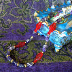 Amethyst & Red Fish necklace