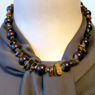 Tigers Eye meets Brown, Gold and Silver necklace