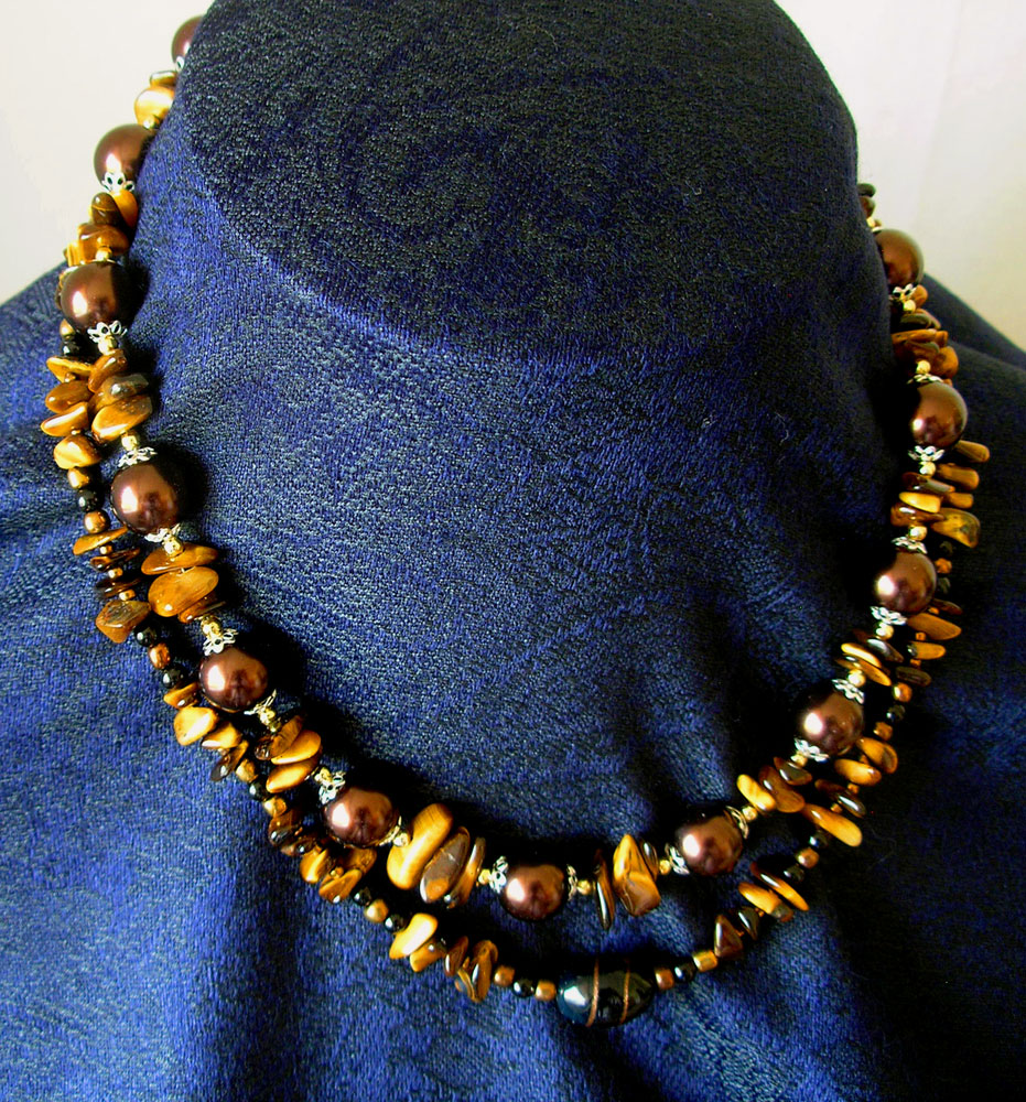 Eye of the Tiger necklace and Tigers Eye meets Brown, Gold and Silver necklaces