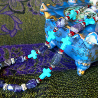 Amethyst & Turquoise Crosses necklace