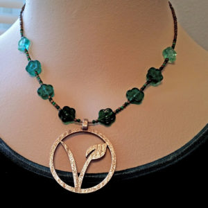 Green Glass Flowers Veggie Pendant Necklace